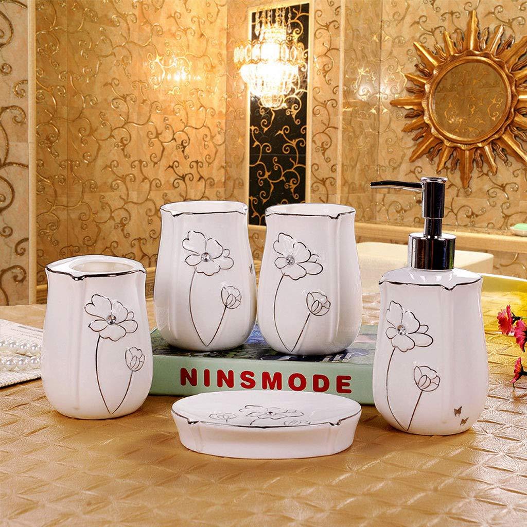 XiYunHan Silver Edge Ceramics Bathroom kit Bathroom Bathroom Supplies Five-Piece wash Hand sanitizer Bottle Toothbrush Holder Soap Dish Mouth Cup