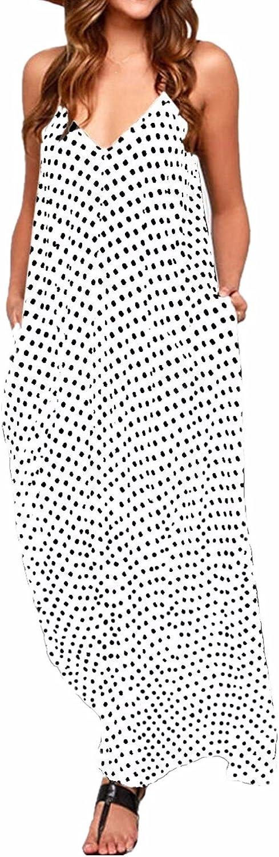ZANZEA Vestido Largo para Mujer Vestido de Playa para Mujer Sexy Vestido de Playa con Boho con Cuello en V Falda de Playa