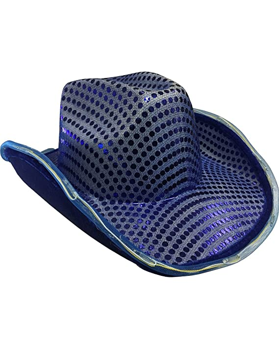 10b57bd2 Amazon.com: LED Flashing Cowboy Hat with Blue Sequins by Blinkee: Toys &  Games