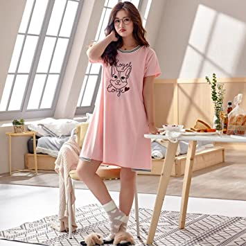 Pijamas ZHAOJING Dormir falda mujer verano algodón coreano fresco estudiante lindo sección delgada vestido de algodón