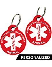 ESA - Pet ID Tags, Various Shapes and Colors, Doubled Sided Emotional Support Animal, Premium Aluminum (Set of 2) (Rectangle, Red)