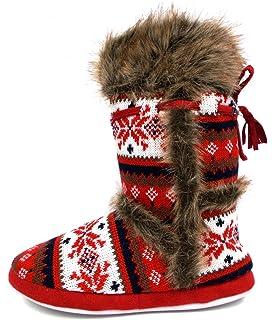 02fe29e150a06d Womens Annabelle Gretel Farrah Fairisle DUNLOP Fluffy Warm Knitted Slipper  Boots