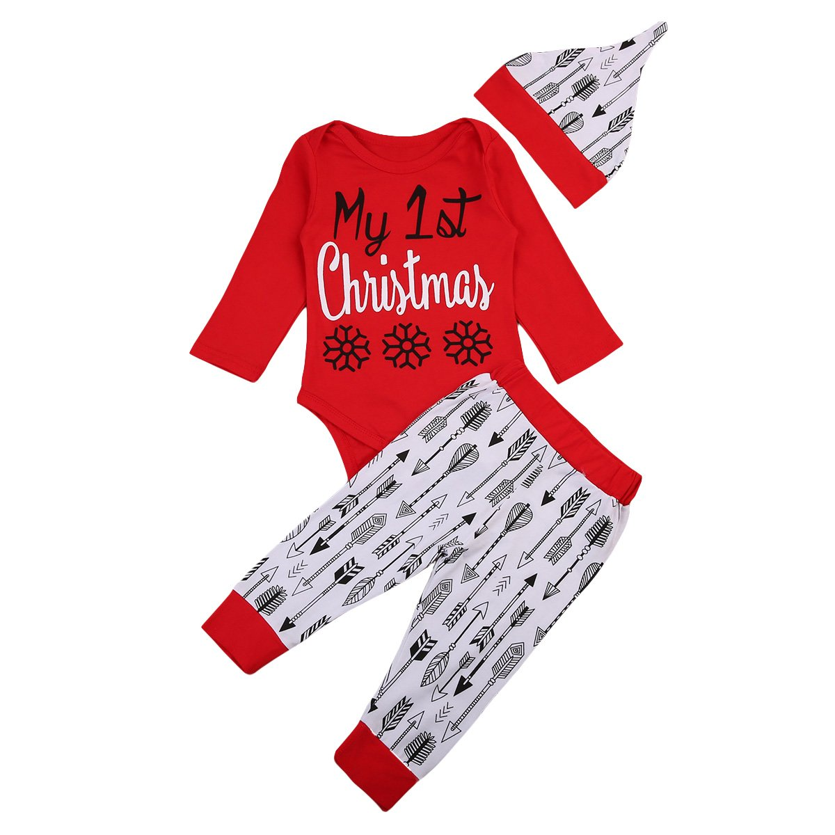 fae92c9c3c6 Top1  Baby Girls Boys Christmas Clothes Set My 1st Christmas Romper Arrow  Printed Pants with Hat 3pcs Suit Winter Outfits. Wholesale ...