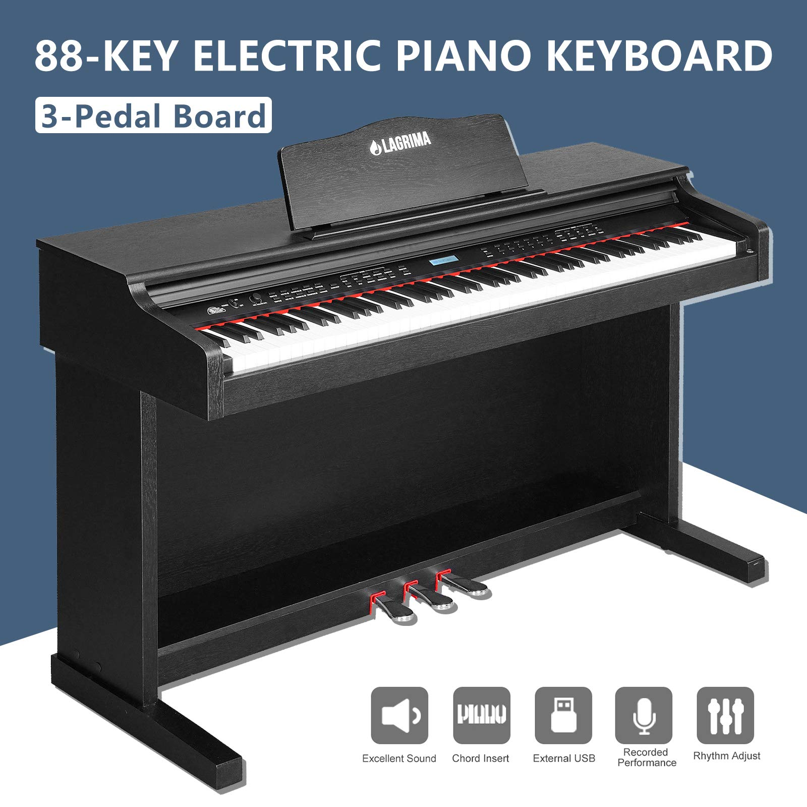 LAGRIMA Digital Piano, 88 Keys Electric Keyboard Piano for Beginner(Kids/Adults) w/Music Stand+Power Adapter+3 Metal Pedals+Instruction Book, 2 Headphone Jack/Midi/USB Audio Output by LAGRIMA (Image #2)