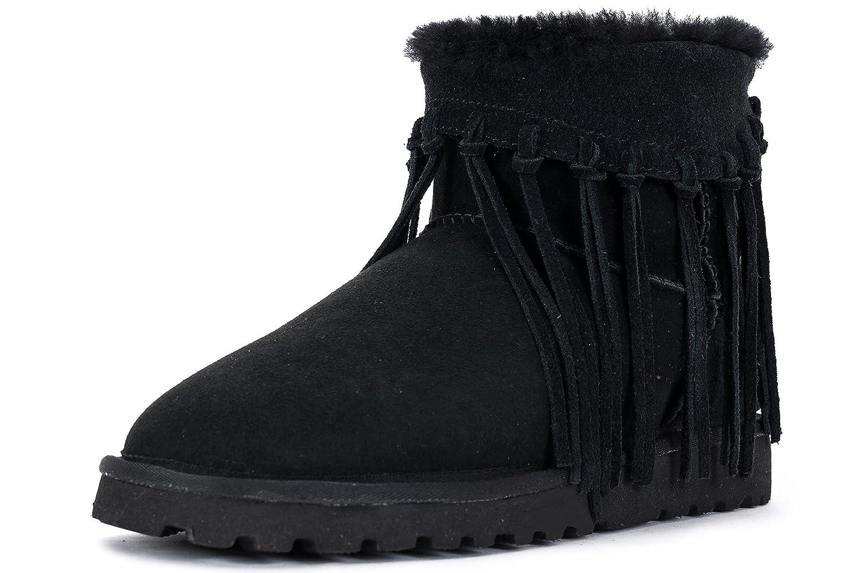 OZZEG Women鈥檚 Snow Boots Long Tassel Quality Sheepskin Lining Winter Shoes