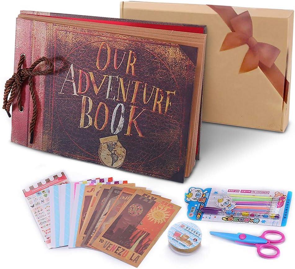 Álbum de Fotos DIY, Pootack Scrapbook (19x30cm, 80 Páginas, 40 Hojas) con un Conjunto de Pluma de Color, Tijeras, Cintas Adhesivas, Pegatinas - Regalo Único para el Cumpleaños/ Familia/ Niños/ Amigos