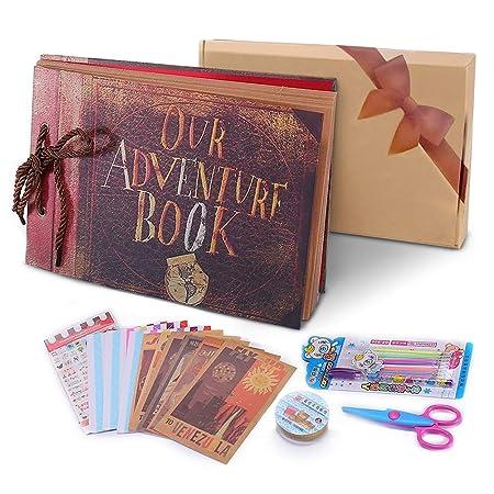 POOTACK Álbum de Fotos DIY, Scrapbook (19x30cm, 80 Páginas, 40 Hojas) con un Conjunto de Pluma de Color, Tijeras, Cintas Adhesivas, Pegatinas ...