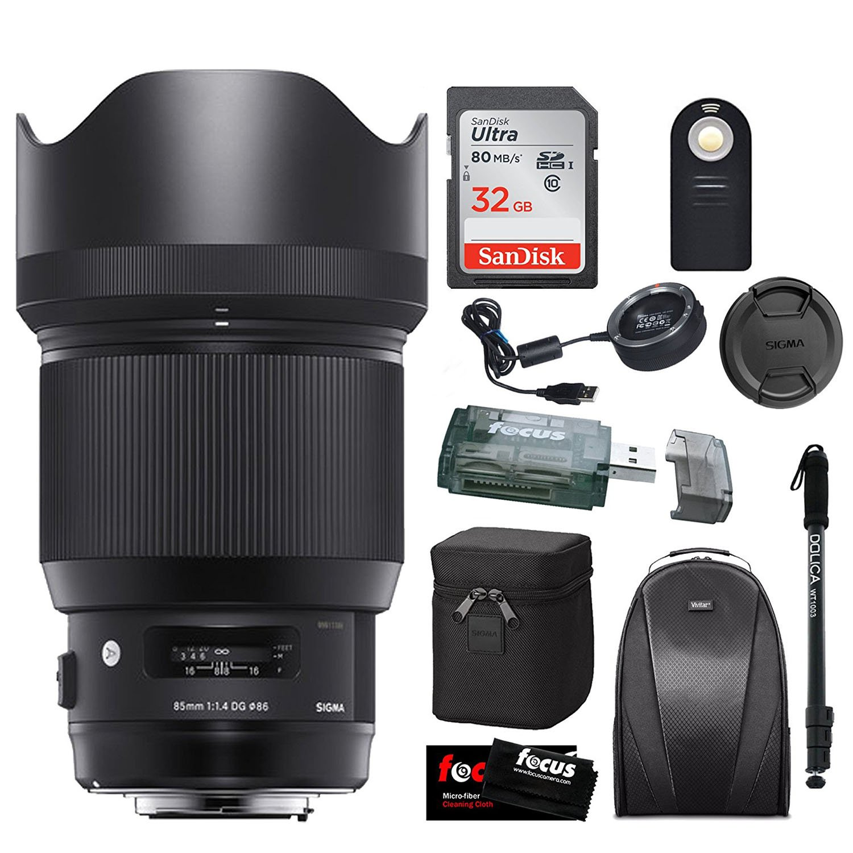 Sigma 85mm f/1.4 DG HSM Art Lens for NIKON F w/ Sigma USB Dock & 32GB Premium Travel Bundle by Focus Camera