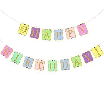 Pastel Colors Happy Birthday Banner