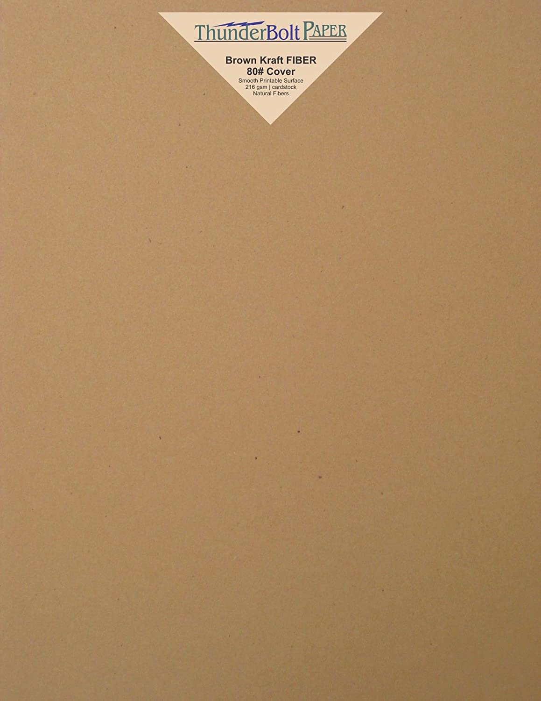 100 Brown Kraft Fiber 80# Cover Paper Sheets - 8.5