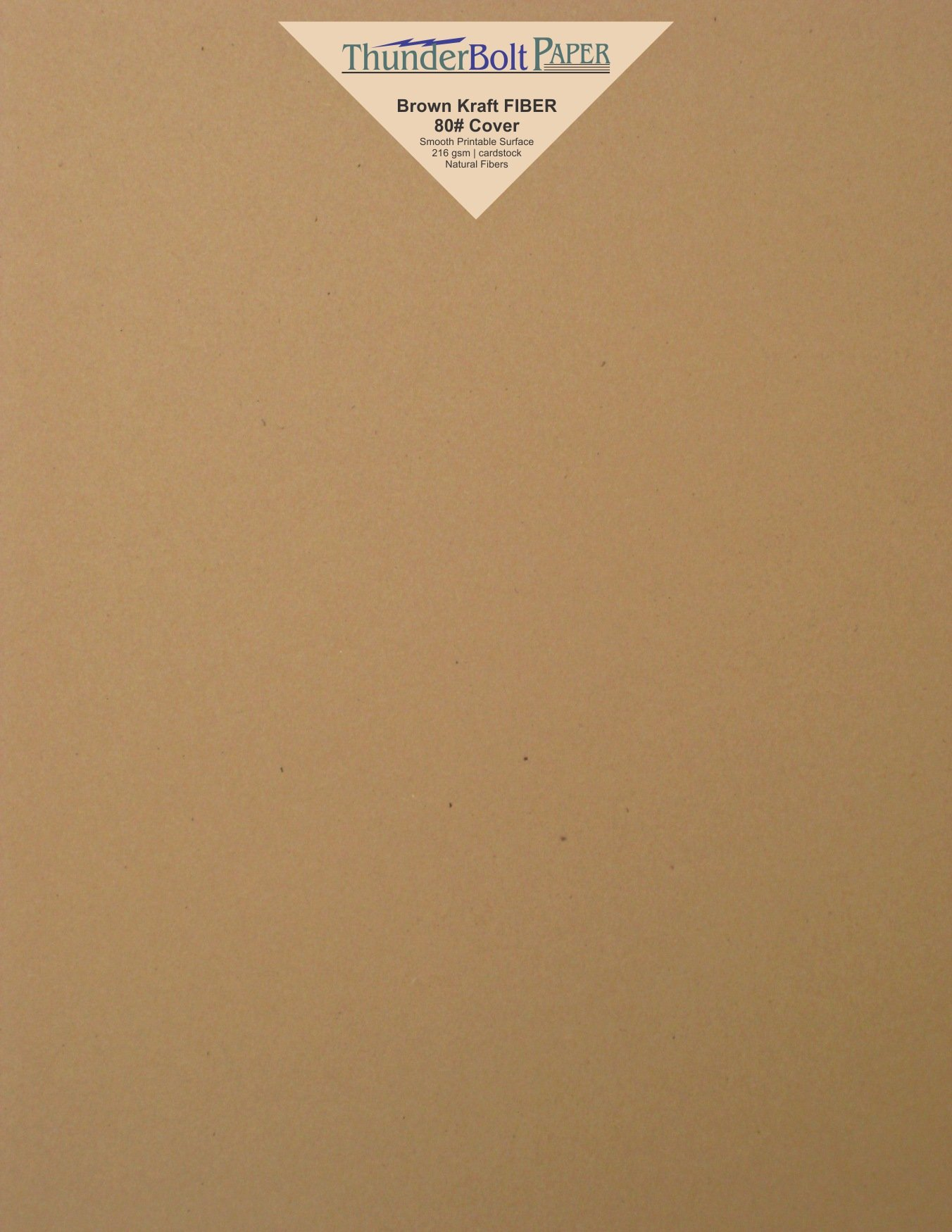 50 Brown Kraft Fiber 80# Cover Paper Sheets - 8.5'' X 11'' (8.5X11 Inches) Standard Letter|Flyer Size - Rich Earthy Color with Natural Fibers - 80lb/pound Cardstock - Smooth Finish
