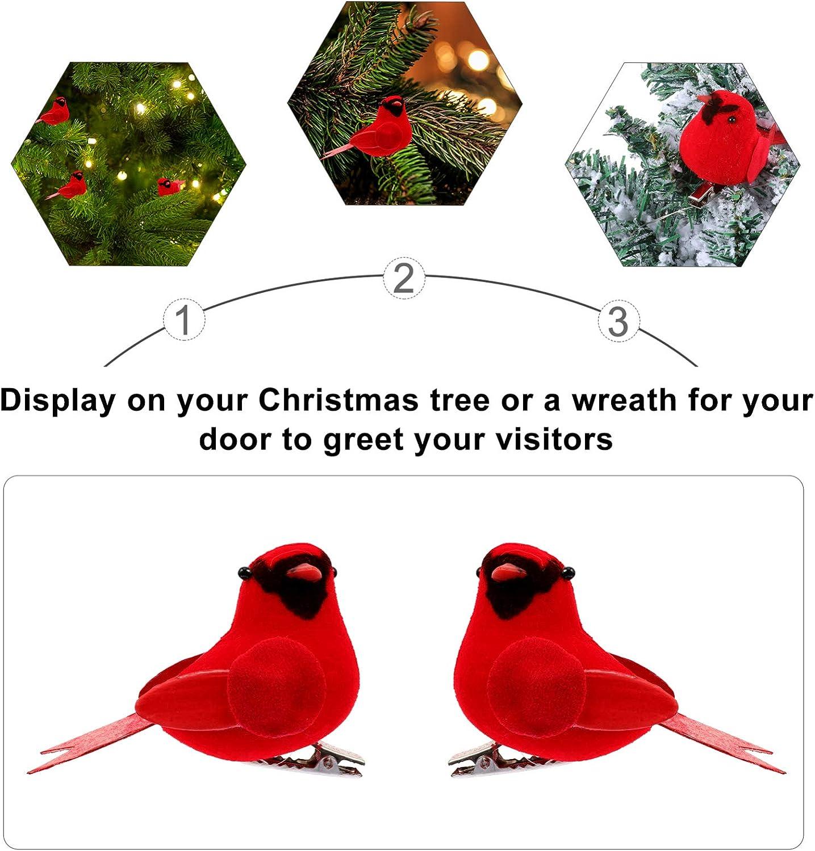 EXCEART 10Pcs K/ünstliche Rot Kardinal V/ögel mit Clip Rot Weihnachten Kardinal V/ögel Clip Urlaub Rote V/ögel Kardinal Weihnachten Baum Ornamente Kranz Garland Dekorationen
