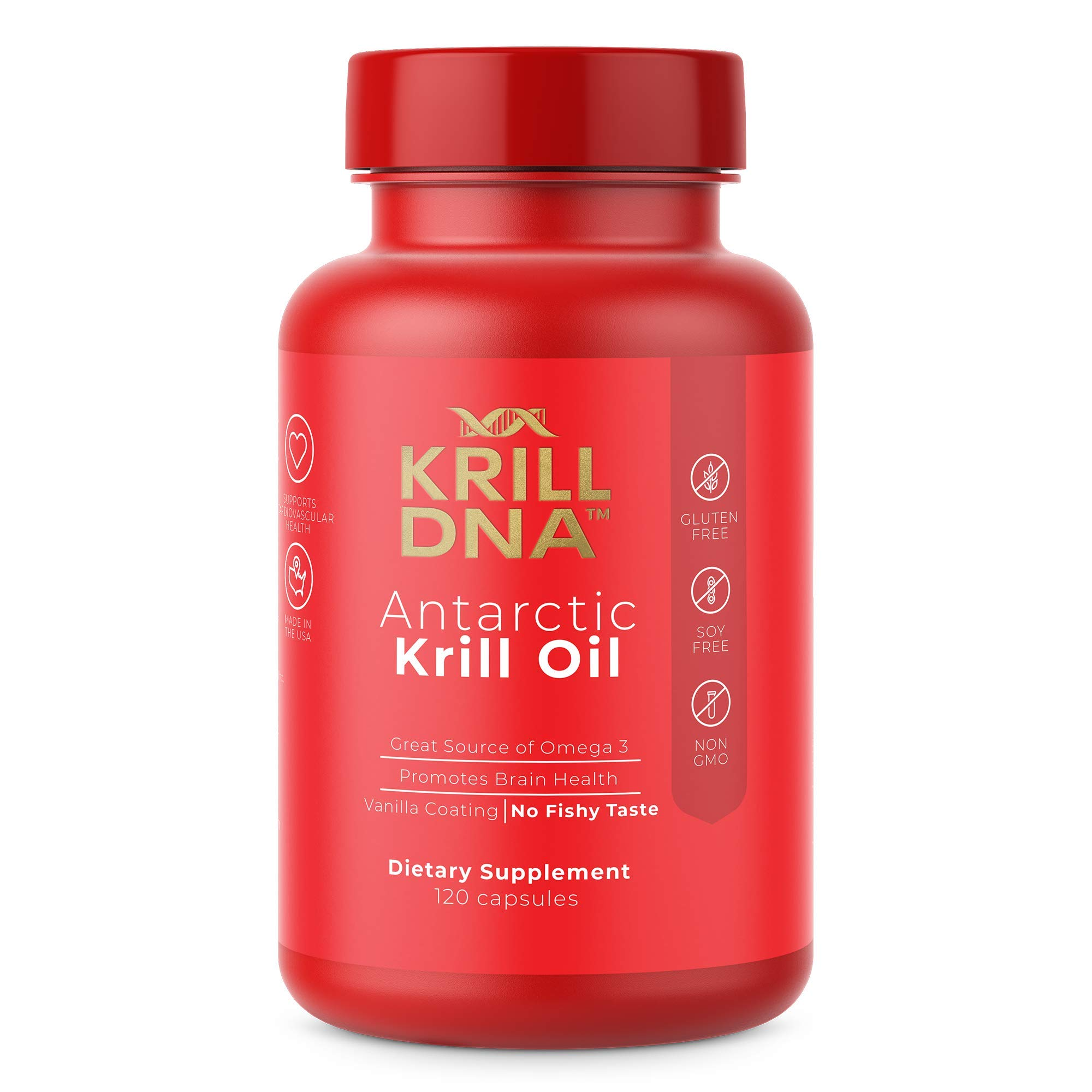 Antarctic Krill Oil by KrillDNA | 1000 mg with Astaxanthin, Omega 3, DHA, EPA, and Phospholipids | Vanilla Coating, No Smell, No Fishy Taste | (120 softgels-60 Servings)