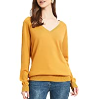 Kallspin Women's Pure Cotton Sweater Pullover V Neck Long Sleeve Knit Jumpers for Fall Winter