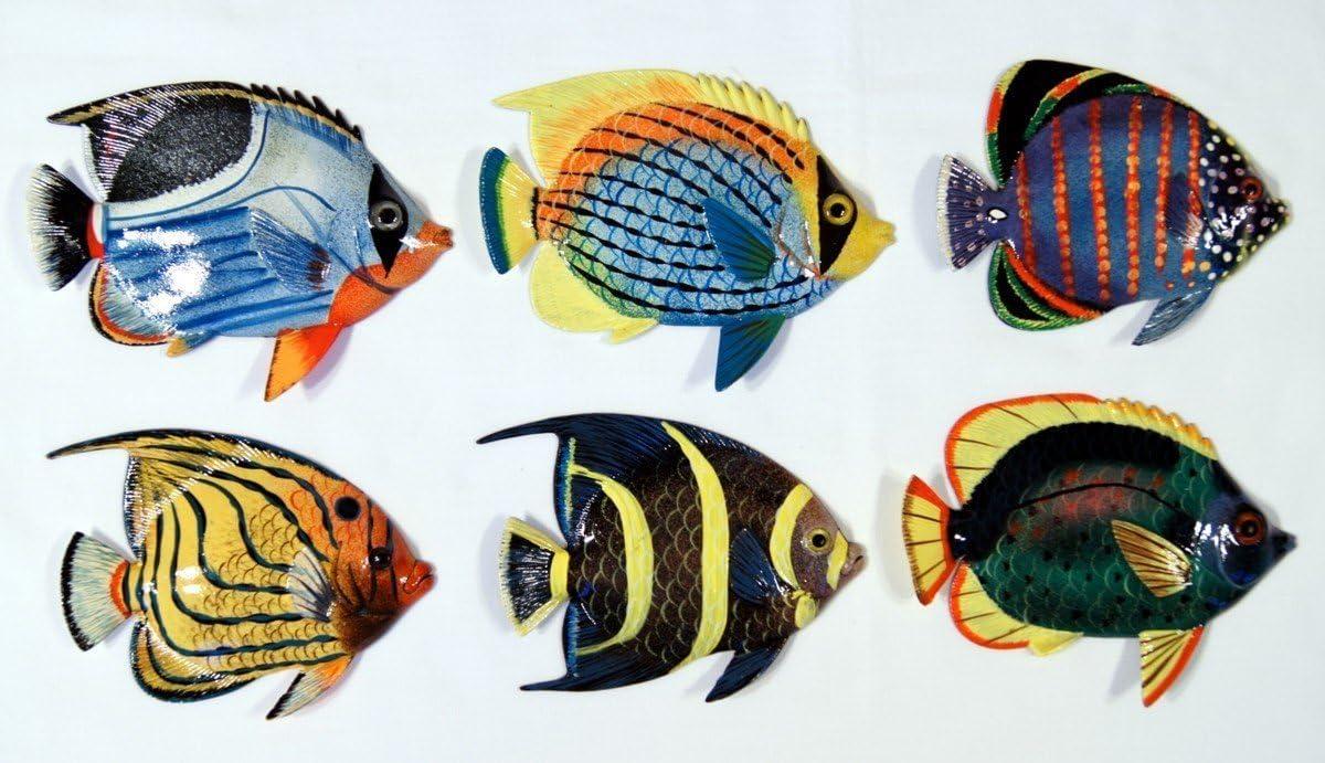 Handpainted L-A Tropical Fish Replica Wall Mount Decor Plaque 6 Set Of 6