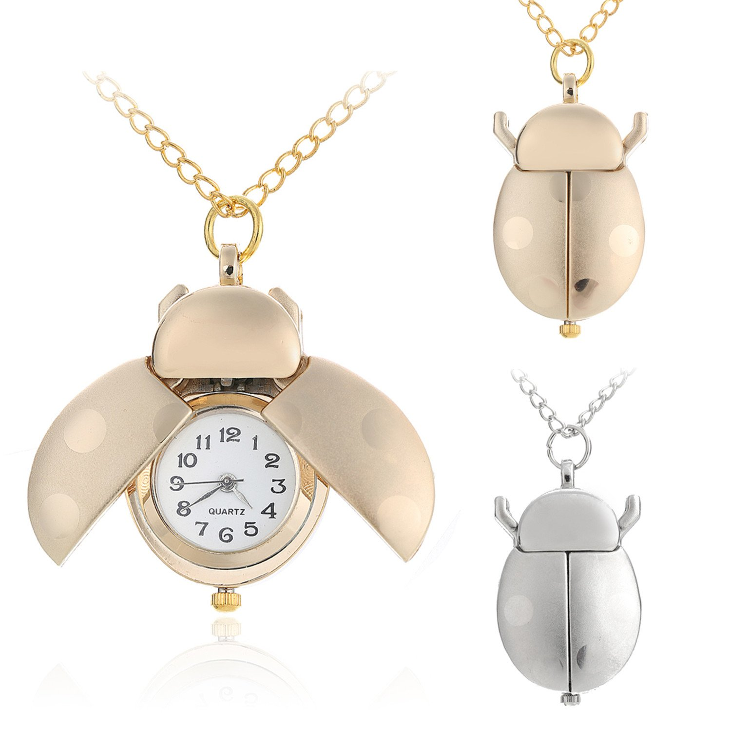 Vavna Gold Sliver Stainless Steel Ladybug Pocket Watch W/Long Chain Free Gift Pouch