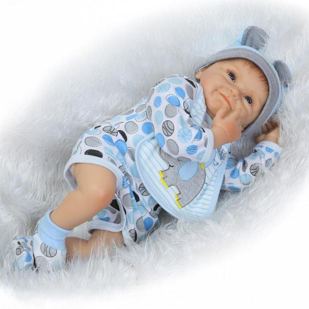 ZIYIUI Lifelike 22 Pulgadas 55cm Muñecas Reborn Realista Reborn Bebé muñeca Suave Vinilo de Silicona Reborn Bebé Recién Nacido Doll Ojos Abiertos Niño ...