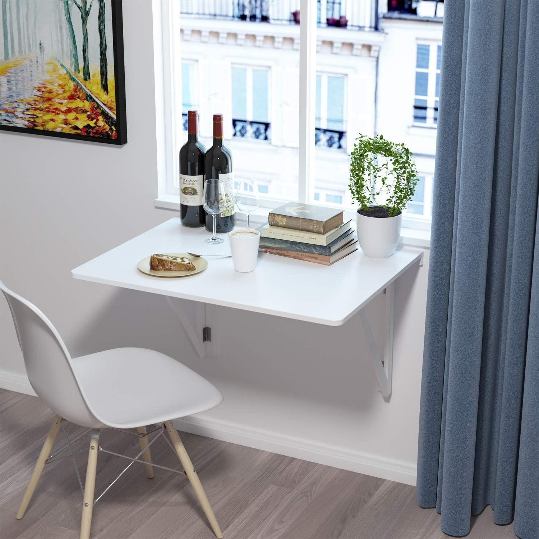 Homfa Wandtisch klappbar 19x19cm weiß mit 19 Halterungen Klapptisch Wand  Küche Wandklapptisch Holz Esstisch Küchentisch Schreibtisch Computertisch  19KG