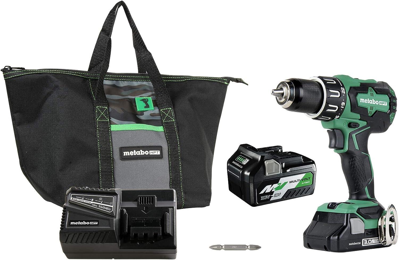 "Metabo HPT DV18DBFL2T 18V Cordless Brushless Hammer Drill, Includes Two Batteries, 1-36V/18V Multivolt 5.0 Ah & 1-18V Compact 3.0 Ah Battery, 1/2"" Keyless Chuck, 620 In/Lbs Turning Torque"