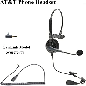 Professional AT&T Phone Headset | Included 2.5mm Quick Disconnect Cord | Call Center Headset with Noise Canceling Microphone | Rotatable Microphone Boom | Over-The-Head Style | Comfortable