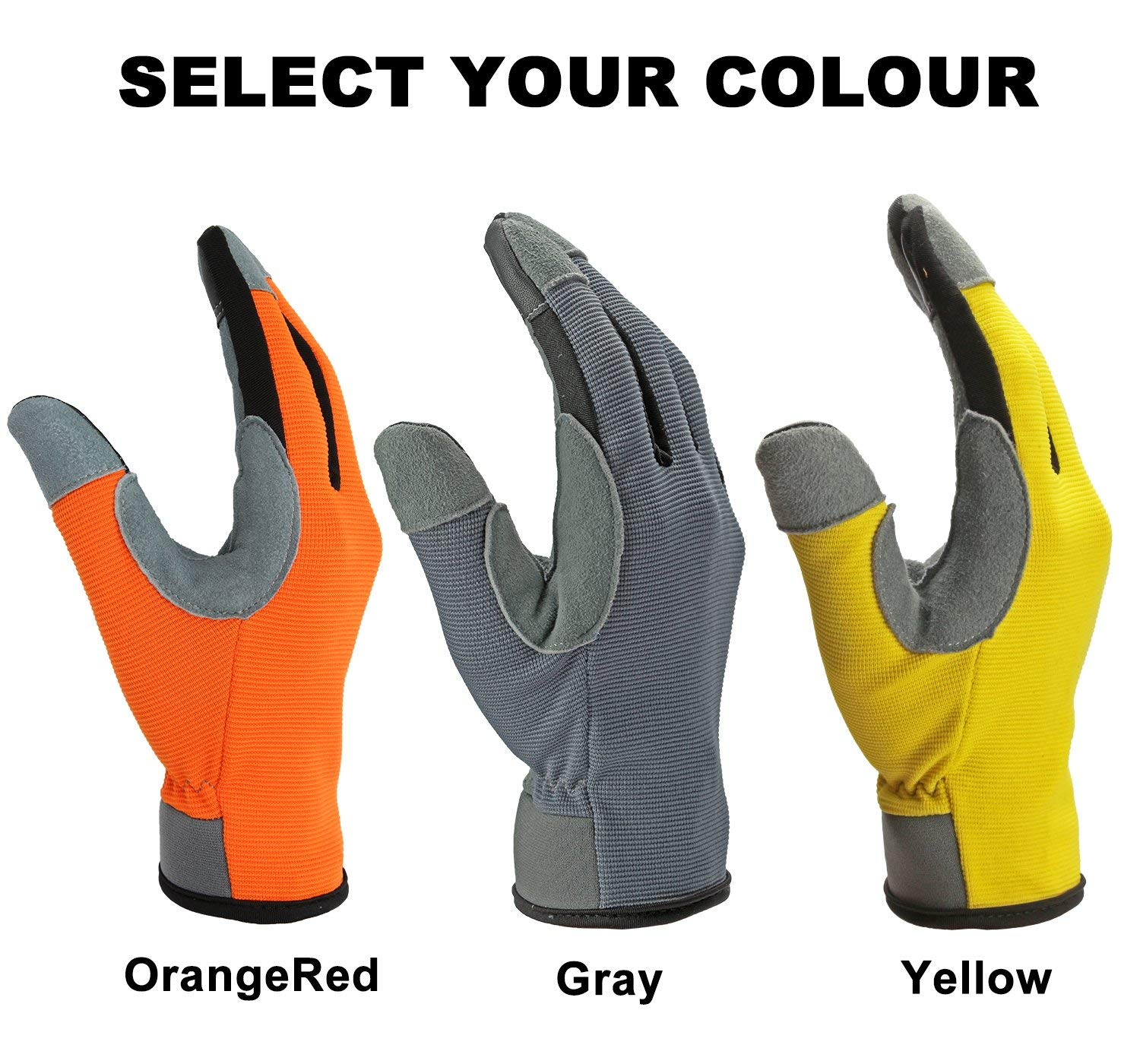 OZERO Work Gloves,Mens and Womens Touch Screen Deer Leather Gloves for Farm,Household Task and Gardening