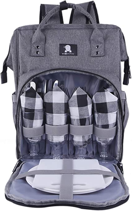 for Camping BBQ Outdoor Cooler Compartment Leakproof Waterproof for Gifts Dog Lion Picnic Backpack with Blanket for 2