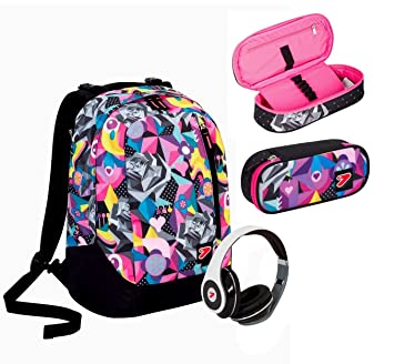 Mochila SEVEN, THE DOUBLE. Negra y rosa. Multicolor. Con ...