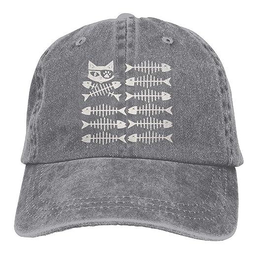 a80b03db83397 Men Women s Fishbone Us Flag Cat Pirate Adjustable Cotton Denim Baseball  Cap Hat at Amazon Women s Clothing store