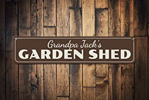 "Garden Shed Sign, Persoanlized Gardener Name Sign Gift, Custom Home Patio Flower Vegetable Garden Metal Decor, Garden Gma - Quality Aluminum, Metal Signs Tin Plaque Wall Art Poster 18""x4"""