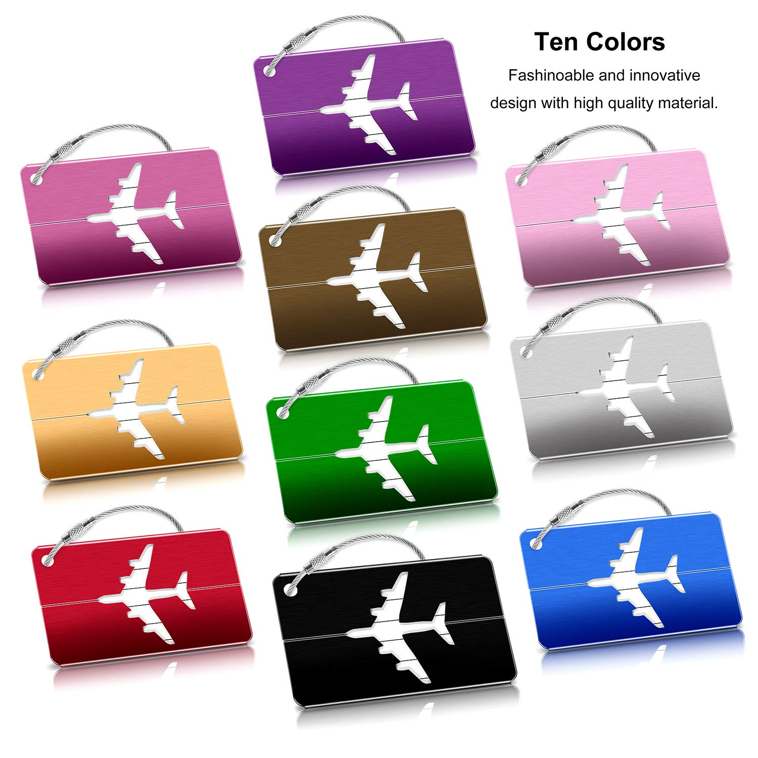 FANXIER Luggage Tags 10 Packs Metal Suitcase Labels Aluminium Baggage Tags Handbag Tag Airplane Pattern Name Address Holder for Travel Bussiness Trip