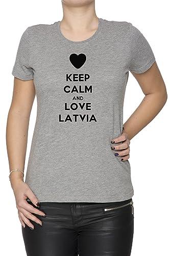 Keep Calm And Love Latvia Mujer Camiseta Cuello Redondo Gris Manga Corta Todos Los Tamaños Women's T...