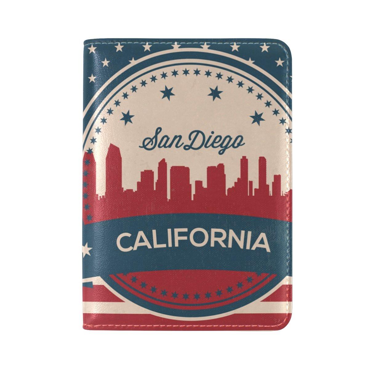 Vintage American Flag California State San Diego Skyline Leather Passport Cover - Holder - for Men & Women - Passport Case