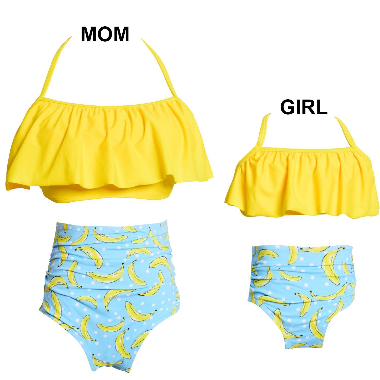 8ffc33e67f741 Camlinbo Package Include:2PS Bikini Swimsuit:1*Flounce Bikini Top+1*High  Waist Bottom,Family Matching Swimsuit(Mother & Girls).