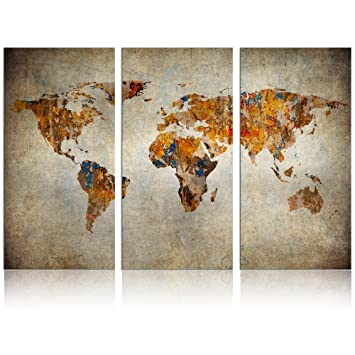 Amazon xlarge world map canvas art vintage map poster printed xlarge world map canvas artvintage map poster printed on canvas framed map of world gumiabroncs Image collections