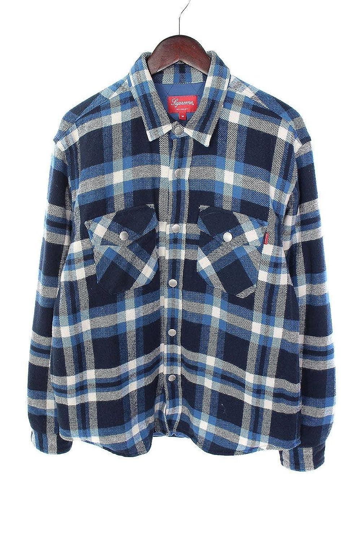 (シュプリーム) SUPREME 【17AW】【Quilted Arc Logo Flannel Shirt】アーチロゴキルティング長袖シャツ(M/ブルー調) 中古 B07FMK77XK  -