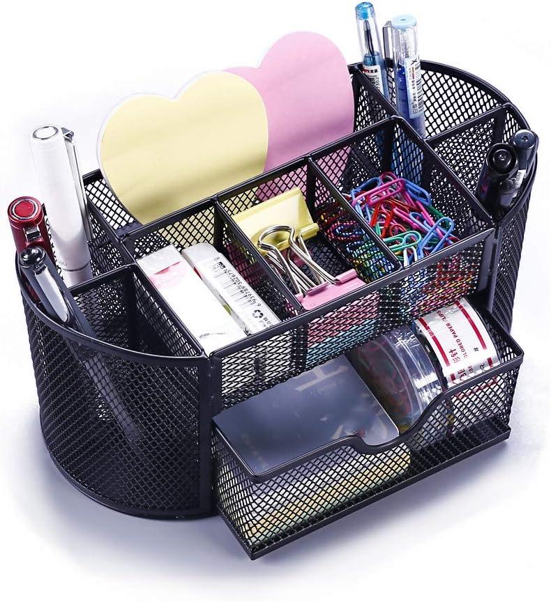 VANRA Metal Mesh Desk Supply Caddy Desktop Office Supplies Organizer Supply Holder 8 Compartments with Drawer (Black)