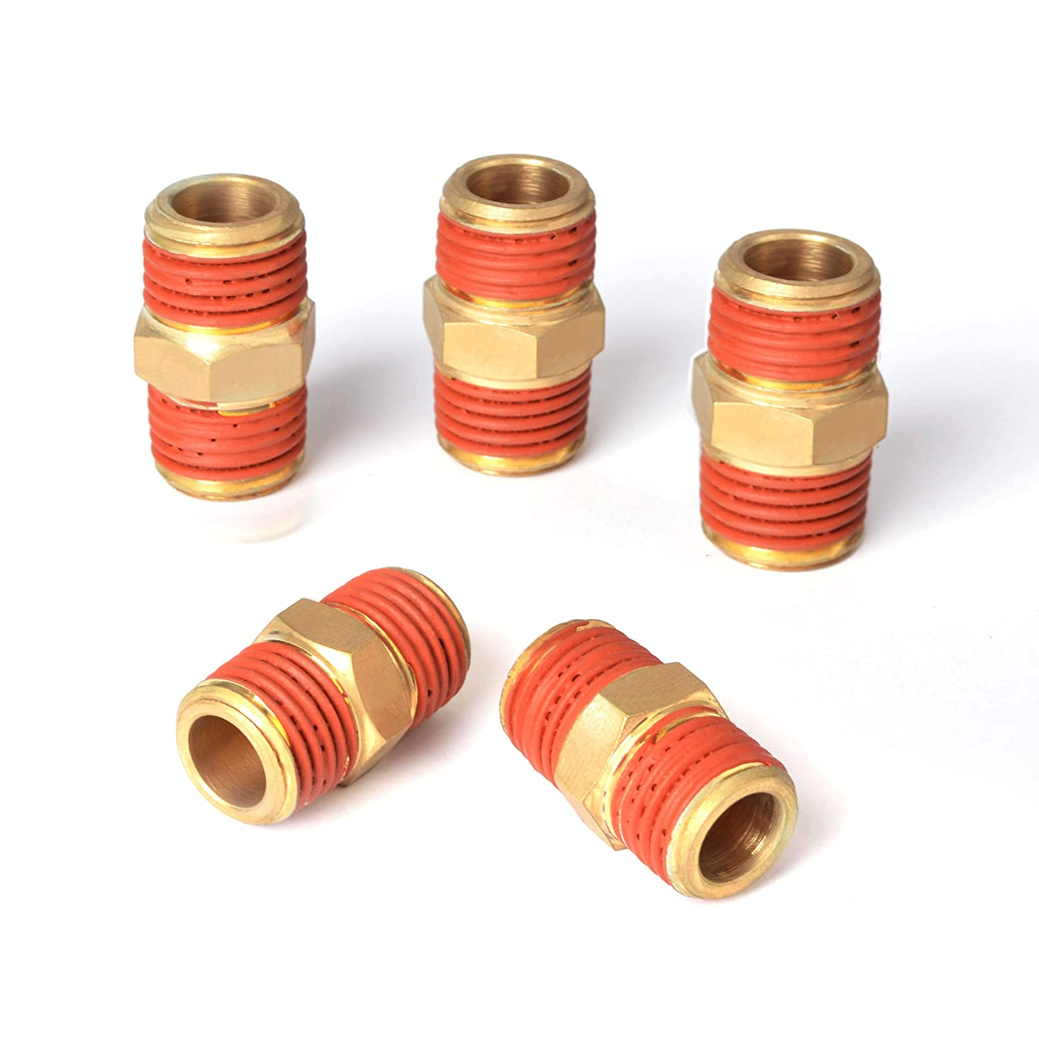 Male Coupling 1//4-Inch NPT x 1//4-Inch NPT PowRyte Elite Solid Brass Air Hose Fitings 5-Pack