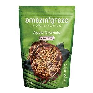 Amazin' Graze Apple Crumble Granola 8.8oz Healthy Breakfast Cereal Natural Honey, Coconut Sugar - Nutrients Dense Snack with, Pecans, Almonds, Flax seed, Apple Puree & Cinnamon