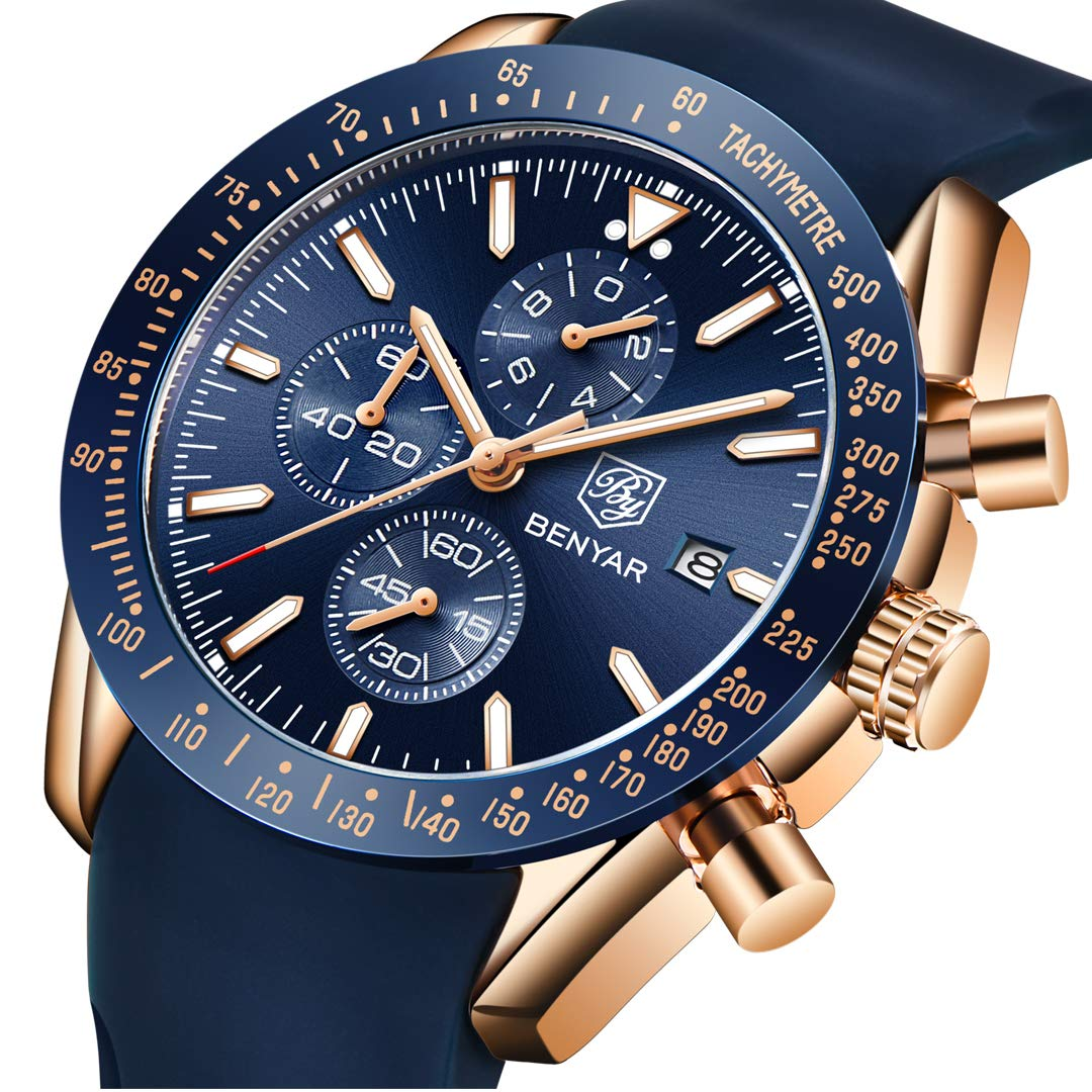 BENYAR - Reloj de Pulsera para Hombre, Estilo Casual, de Lujo, de Acero Inoxidable, Resistente al Agua