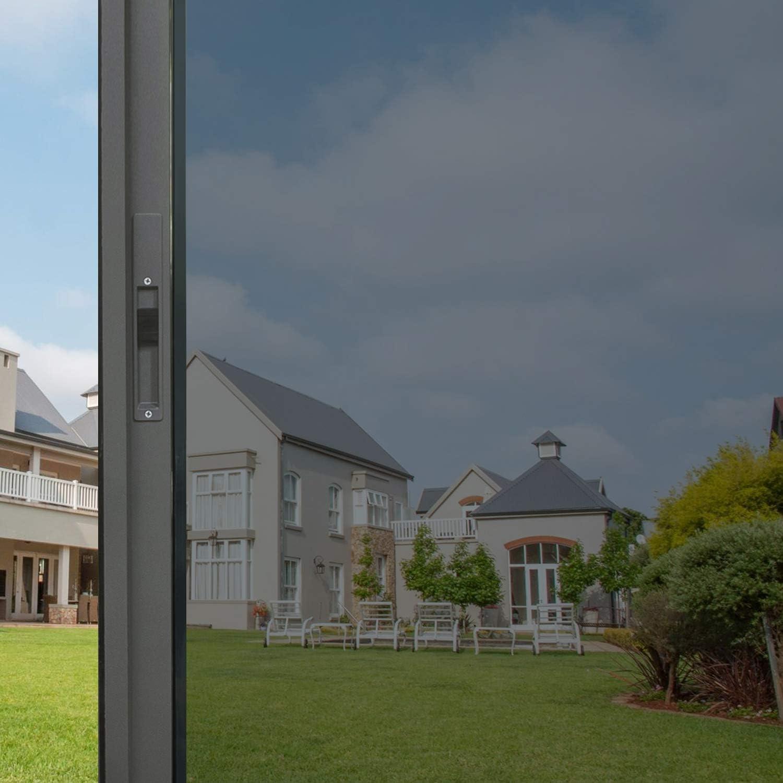 HIDBEA One Way Privacy Film Adhesive Mirror Reflective Glass Tint Sun Blocking Heat Control Anti UV Window Sticker for Home Office, 35.4 Inches x 6.5 feet, Black-Silver