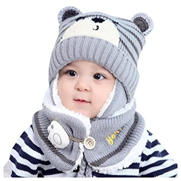 Inkach Cute Toddler Baby Girls Knitted Hats Winter Warm Neck Warmer Scarf Baby Hats Scarves Sets