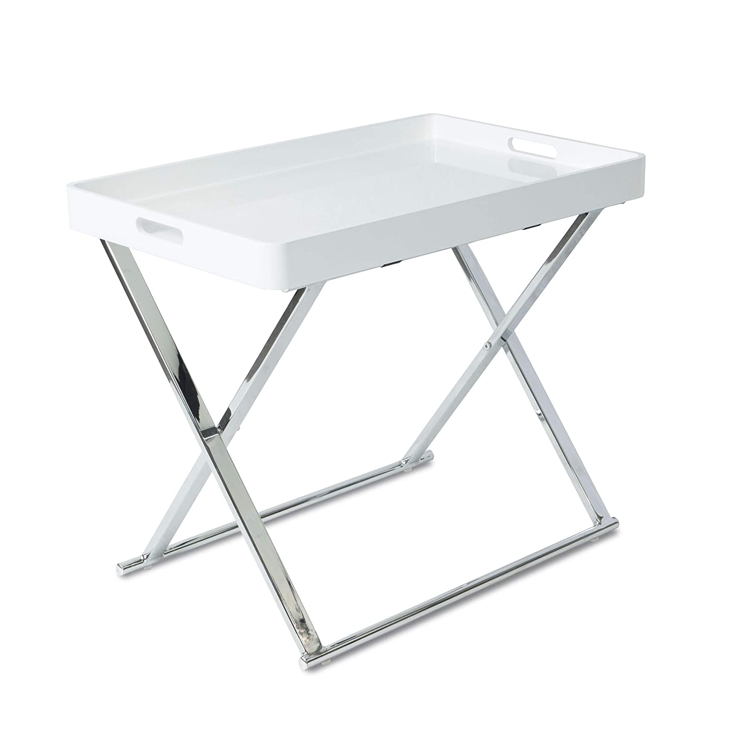 urb SPACE Accent Table Folding Tray, White Silver