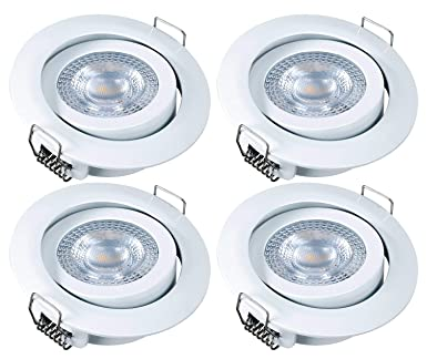5W =28W Set of 10 greenandco/® recessed LED Ceiling downlights White CRI 97 300lm Warm White no Flicker Flat pivotable with Quick Connector 68 mm Cutout