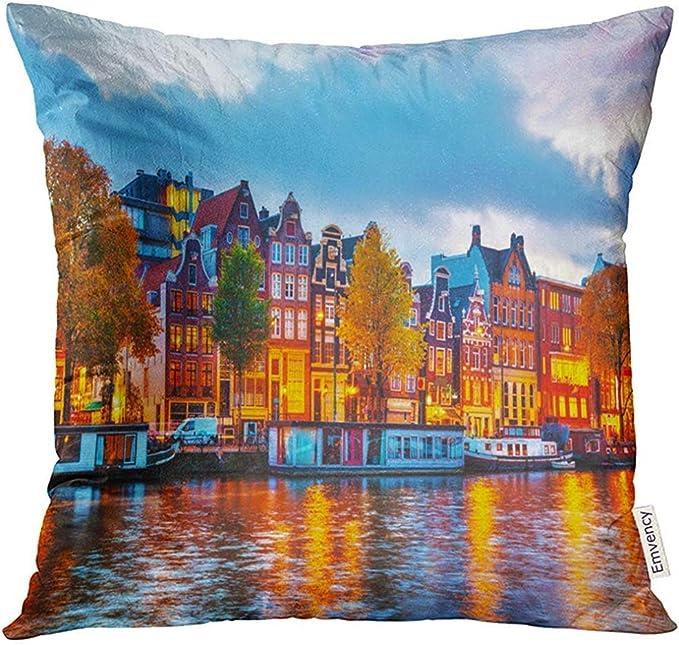 shizh Europa Amsterdam City View con el río Amstel al Atardecer ...