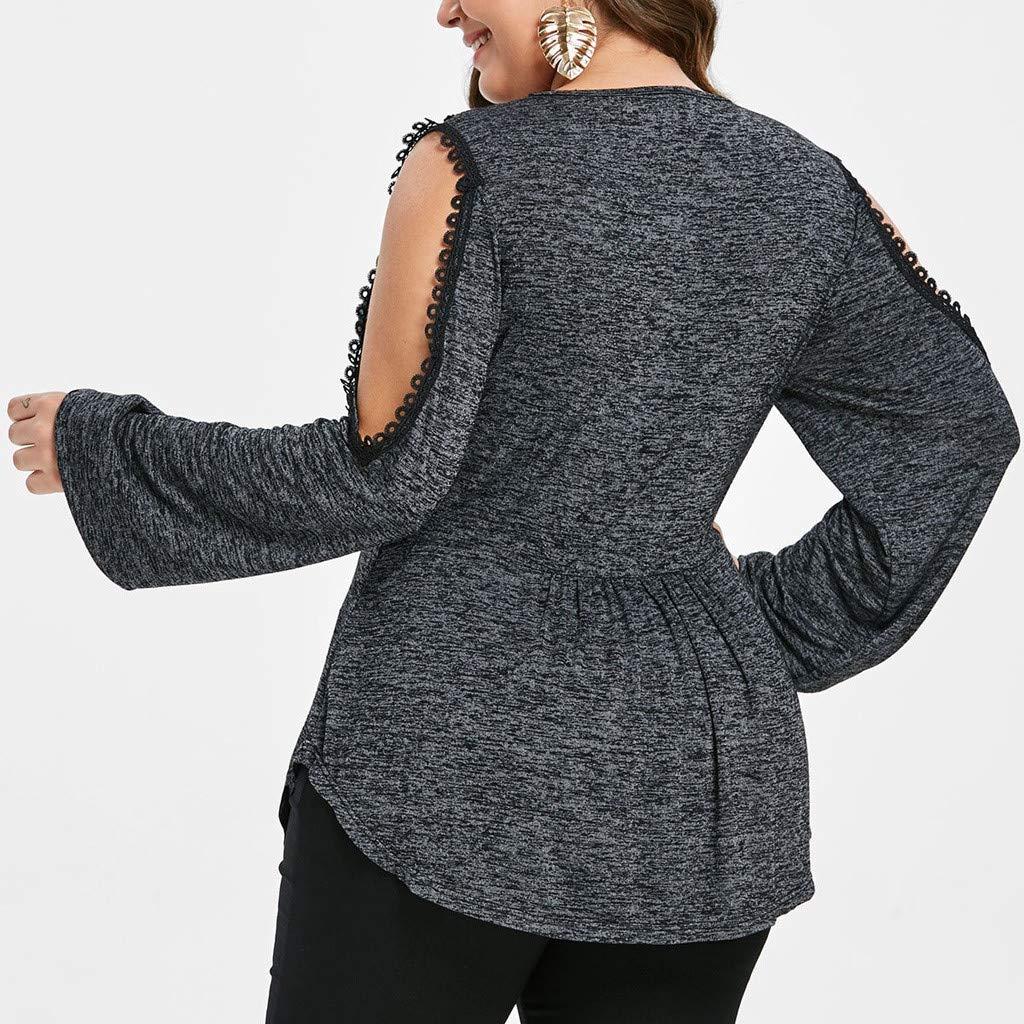 db887a96510330 Amazon.com: Jiayit Women Shirts Plus Size Fashion V-Neck Cold Shoulder  Empire Waist Lace Tops Blouse: Clothing