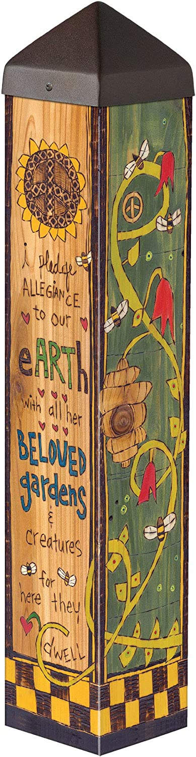 Studio M Pledge for The Earth Art Pole Outdoor Decorative Garden Post, Made in USA, 20 Inches Tall