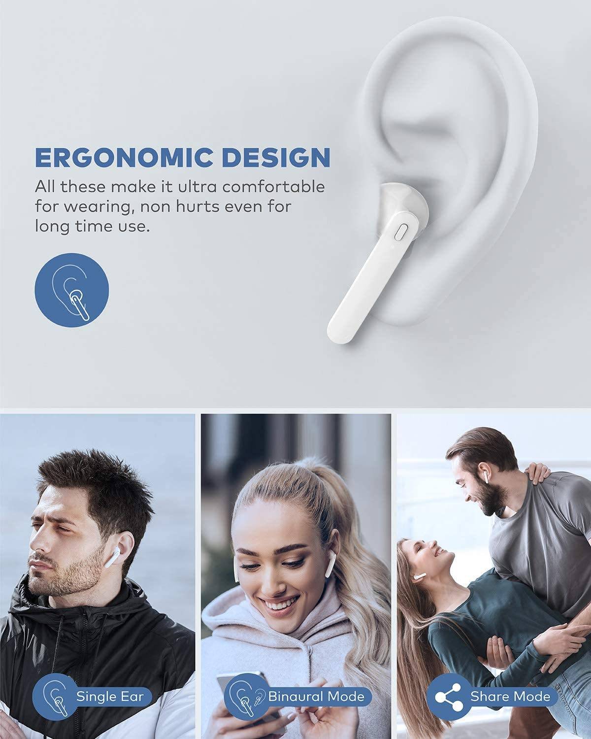 Beben Bluetooth 5.0 True Wireless Earbuds with Charging Case for iPhone Android, 5H Continuous 25H Cyclic Playtime Waterproof Stereo Headphones with mic, in-Ear Earphones Headset for Sport