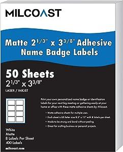 Milcoast Matte White Adhesive Name Badge Label Stickers 2-1/3