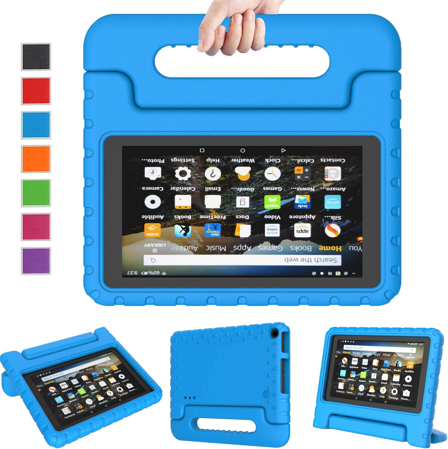 Amazon Com Ltrop Case For Amazon Fire 7 Kindle Kids Case 2019 Light Weight Shock Proof Convertible Handle Stand Corner Protection Kids Case For All New Fire 7 Tablet 9th Generation 2019 Release