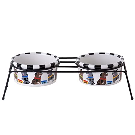 Signature Housewares Pooch Bowls with Stand, Small, Set of 2